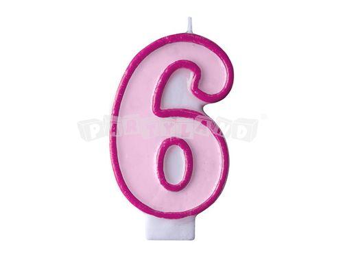Narodeninová sviečka č.6 svetlo ružová
