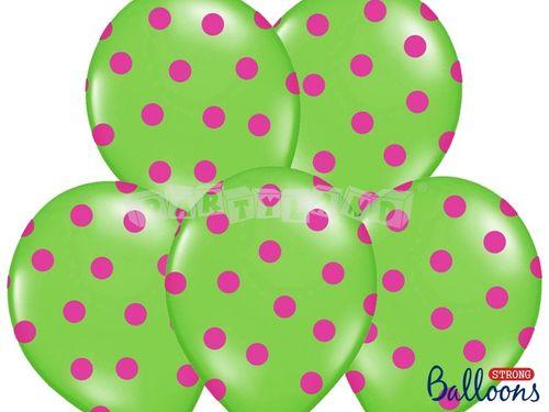 Pastelový balón dobkovaný limetkový- ružový bodky