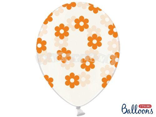 Balón 30 cm, oranžové kvety, priesvitný biely