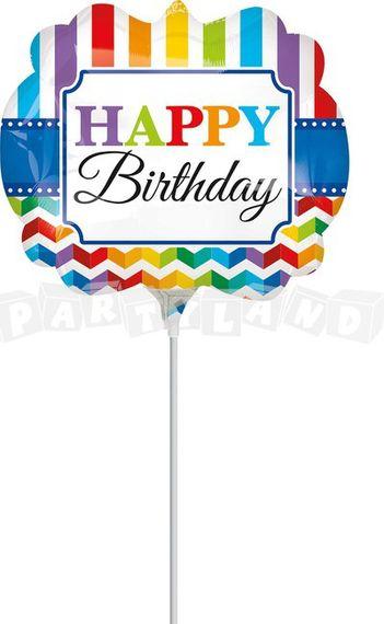 Balón Happy Birthday pruhy