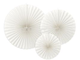 Dekoračné rozety biele - 3ks