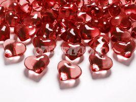 Diamantové konfety červené srdcia 21mm - 30 ks