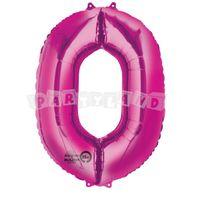 Fóliový balon 0 ružový 88 cm