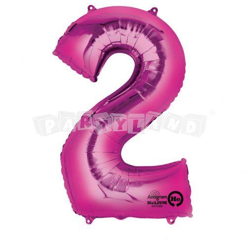 Fóliový balon 2 ružový 88 cm