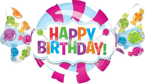 Happy Birthday cukríky 101 cm Fóliový balón