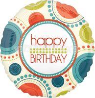 Fóliový balón Happy birthday kruhy