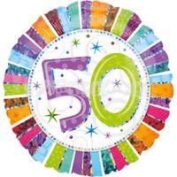 50. narodeniny farebné 43 cm Fóliový balón
