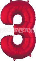 Fólový balon 3 červený 88 cm