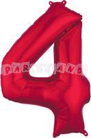 Fólový balon 4 červený 88 cm