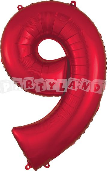 Fólový balon 9 červený 86 cm