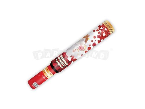 Konfety 50 cm biele srdcia a červené lupene