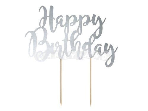 Happy Birthday Nadpis tortu - strieborný