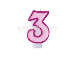 Narodeninová sviečka č.3 svetlo ružová