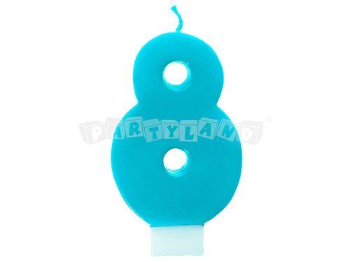Narodeninová sviečka č.8 tyrkysová