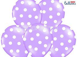 Pastelový balón dobkovaný levandulový - biele bodky
