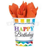 Poháre Happy Birthday 8 ks