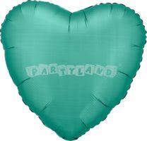 Srdce tyrkysový 43 cm saténový fóliový balón