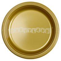 Zlaté plastové tanieriky 10 ks, 22,8 cm